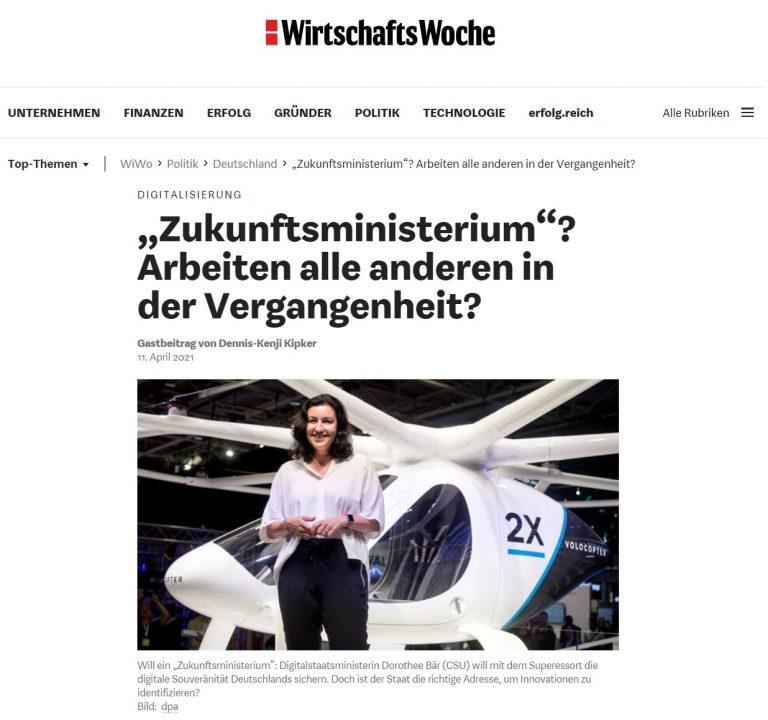 """Wirtschaftswoche: """"Zukunftsministerium? Arbeiten alle"""